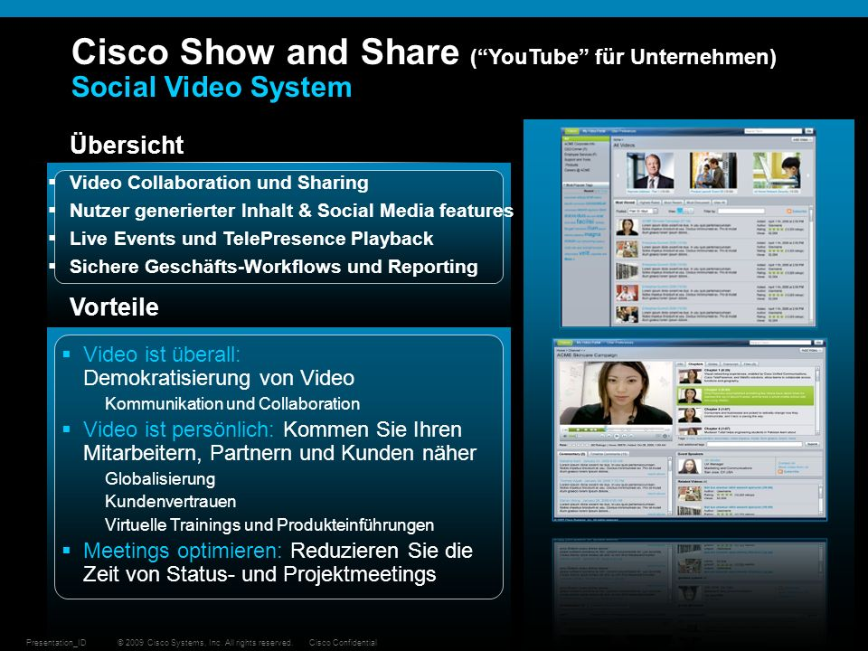 Cisco Show and Share ( YouTube für Unternehmen) Social Video System