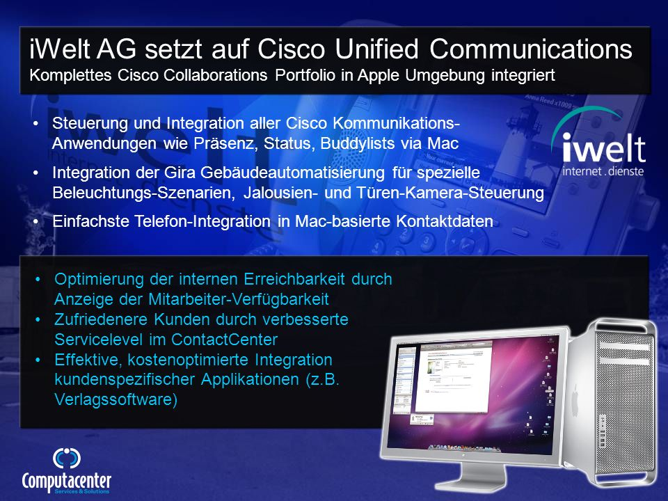 iWelt AG setzt auf Cisco Unified Communications