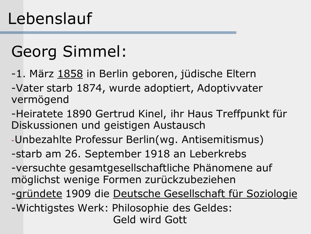 Lebenslauf Georg Simmel: