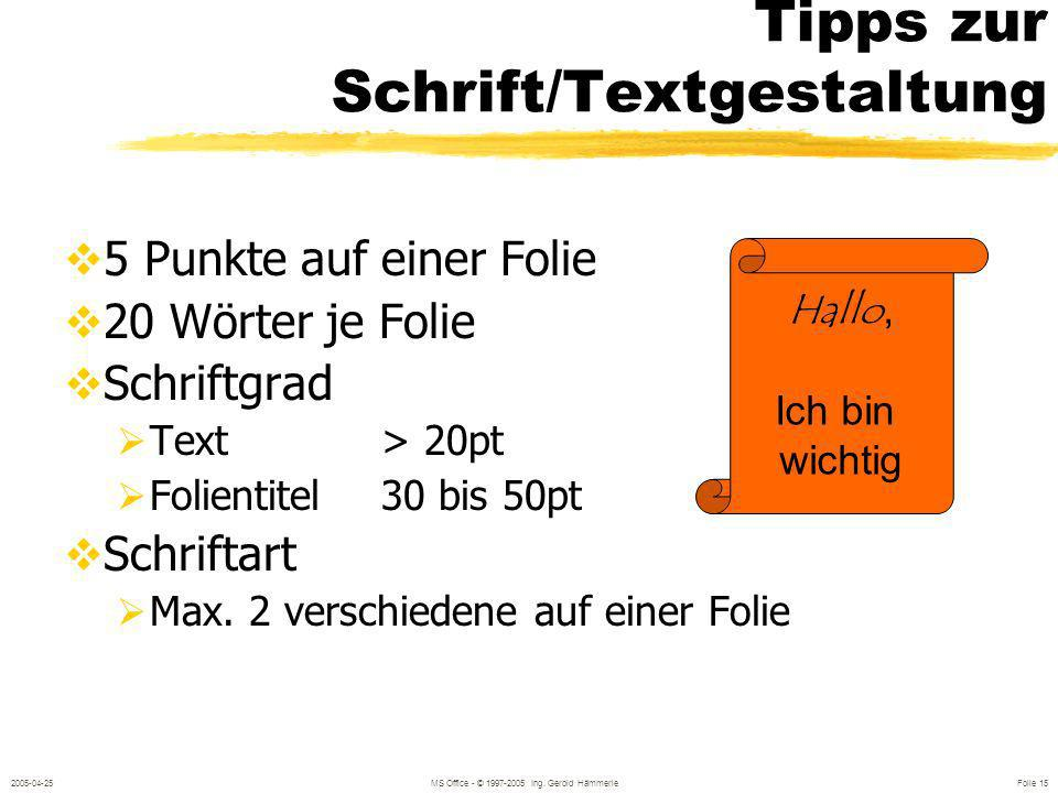 Tipps zur Schrift/Textgestaltung