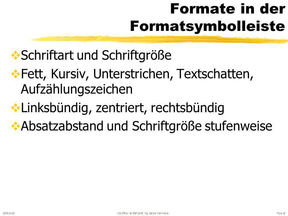 Formate in der Formatsymbolleiste