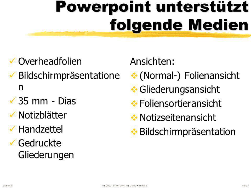 Powerpoint unterstützt folgende Medien