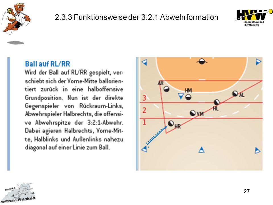 2.3.3 Funktionsweise der 3:2:1 Abwehrformation