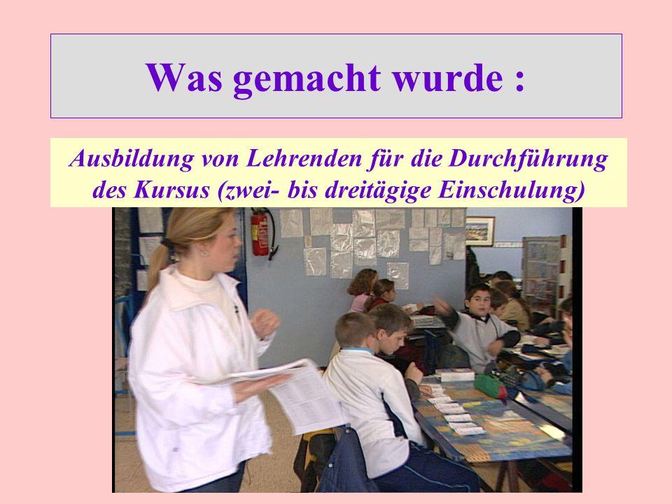 Was gemacht wurde : Ausbildung von Lehrenden für die Durchführung des Kursus (zwei- bis dreitägige Einschulung)