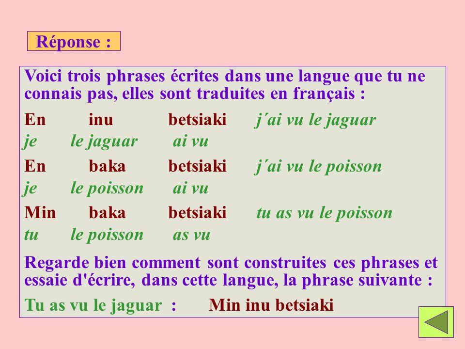 Réponse : Voici trois phrases écrites dans une langue que tu ne connais pas, elles sont traduites en français :