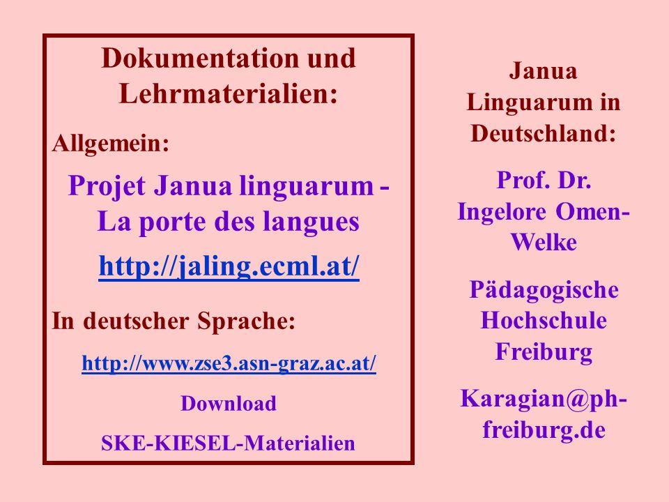 Dokumentation und Lehrmaterialien: