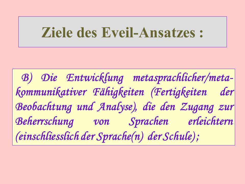 Ziele des Eveil-Ansatzes :