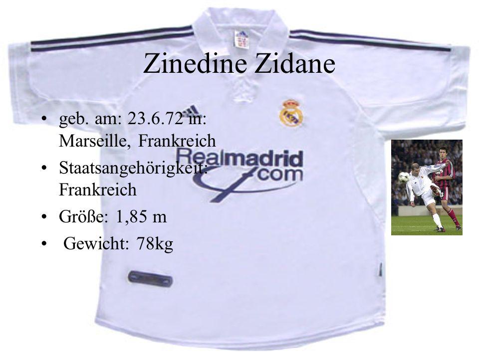 Zinedine Zidane geb. am: 23.6.72 in: Marseille, Frankreich