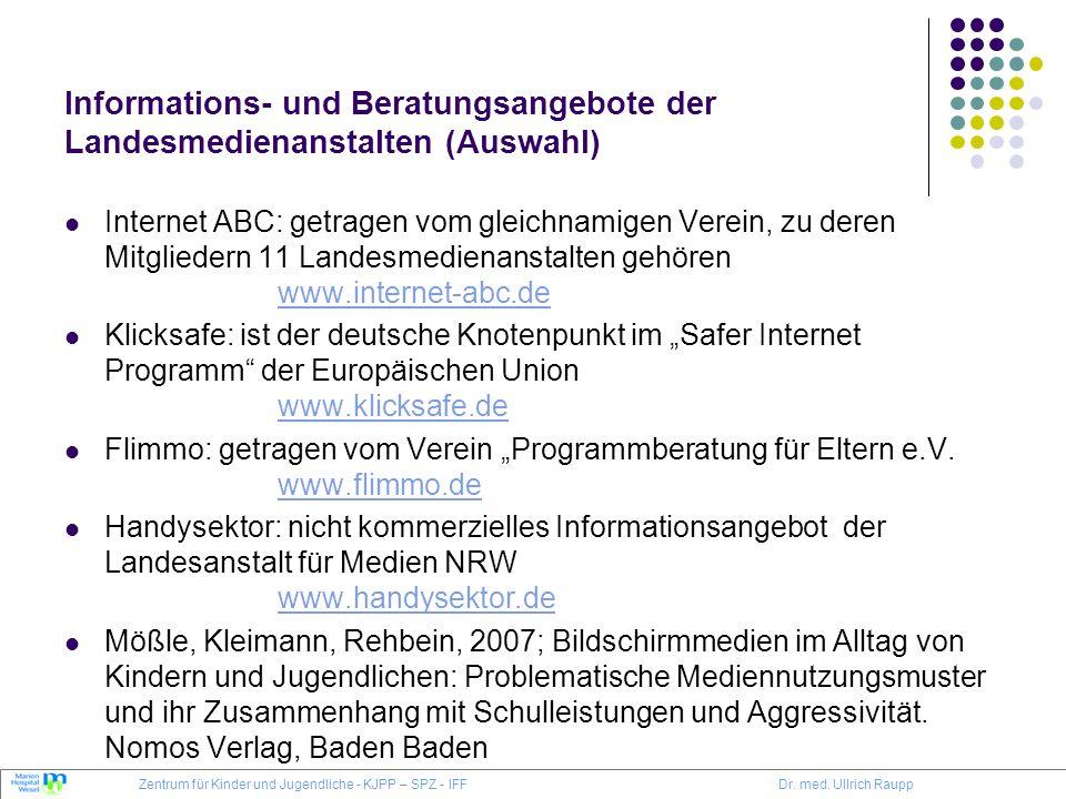 Informations- und Beratungsangebote der Landesmedienanstalten (Auswahl)