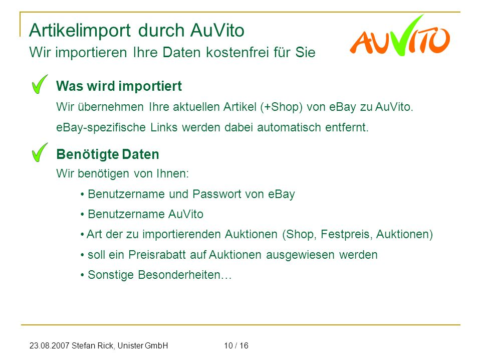 Artikelimport durch AuVito