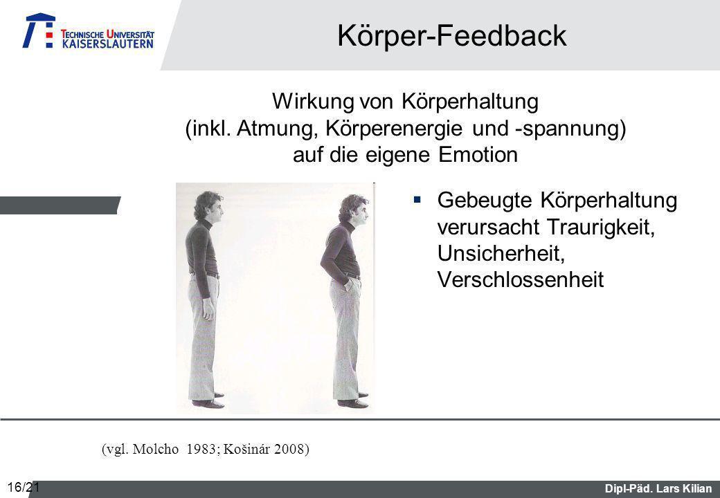 Körper-Feedback Wirkung von Körperhaltung (inkl. Atmung, Körperenergie und -spannung) auf die eigene Emotion.