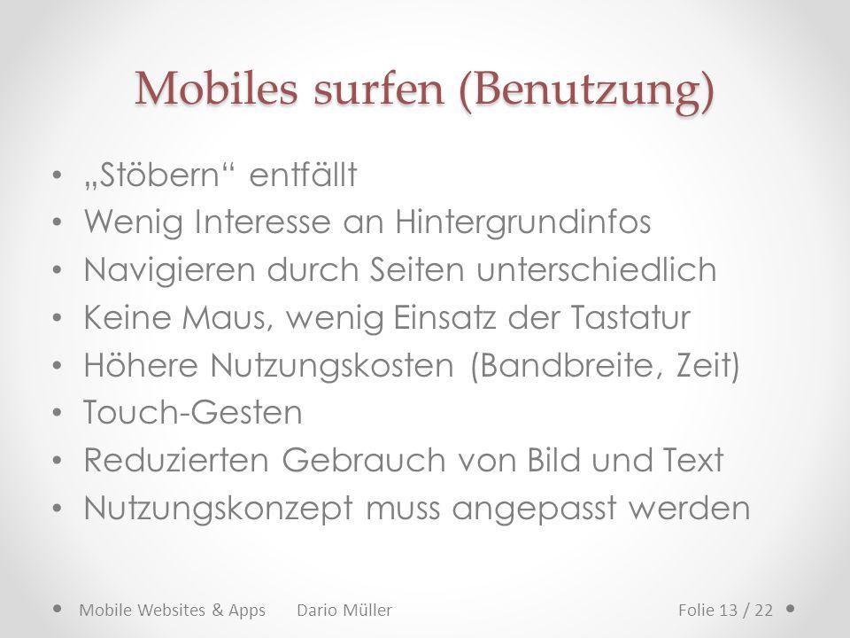 Mobiles surfen (Benutzung)