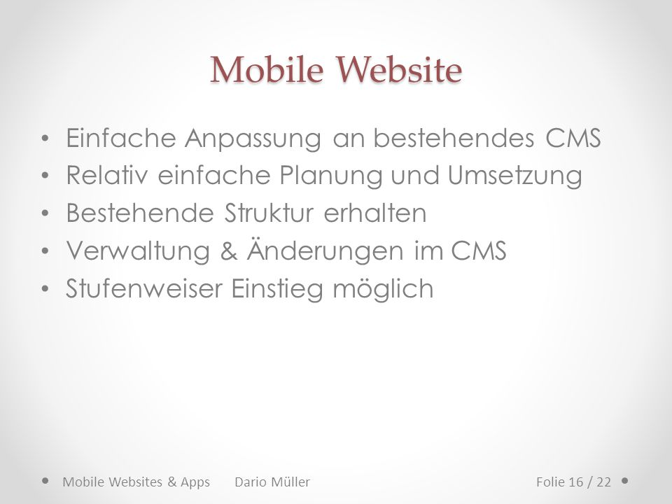 Mobile Website Einfache Anpassung an bestehendes CMS