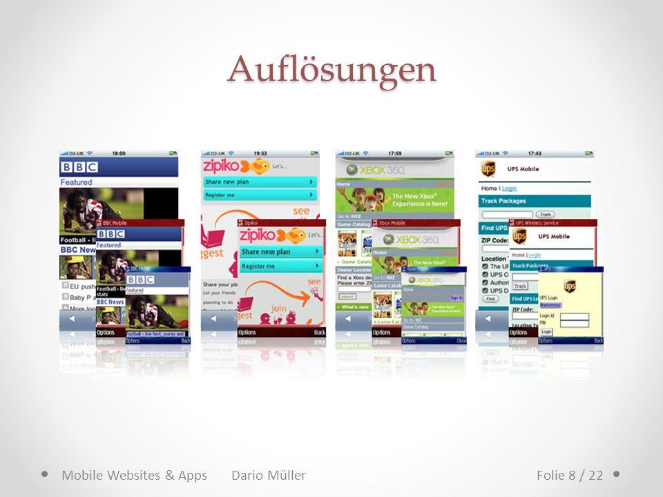 Auflösungen Mobile Websites & Apps Dario Müller Folie 8 / 22