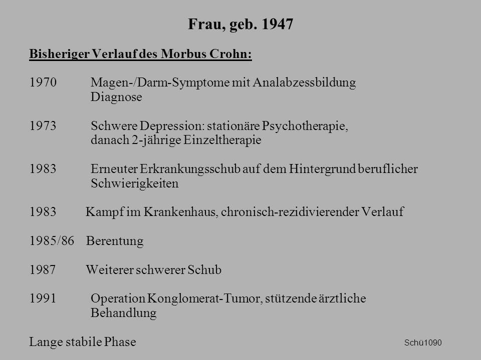 Frau, geb. 1947 Bisheriger Verlauf des Morbus Crohn: