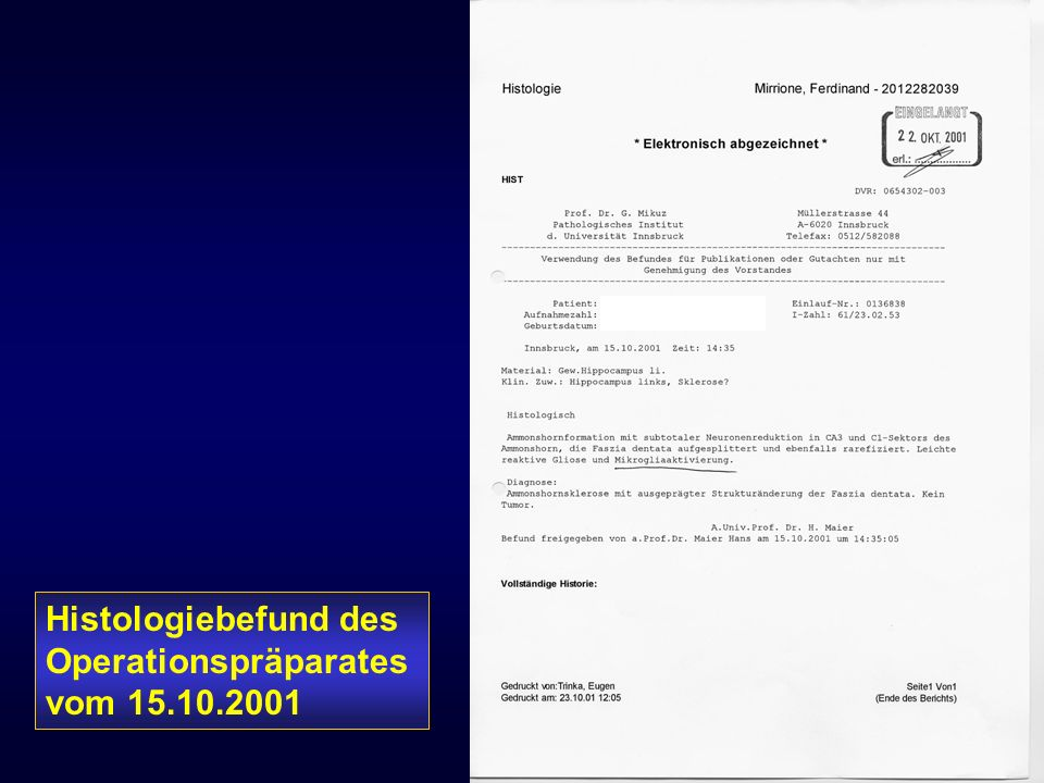 Histologiebefund des Operationspräparates vom