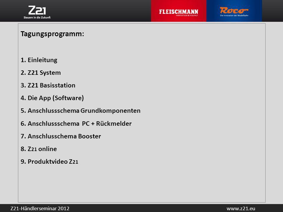 Tagungsprogramm:. 1. Einleitung 2. Z21 System 3. Z21 Basisstation 4