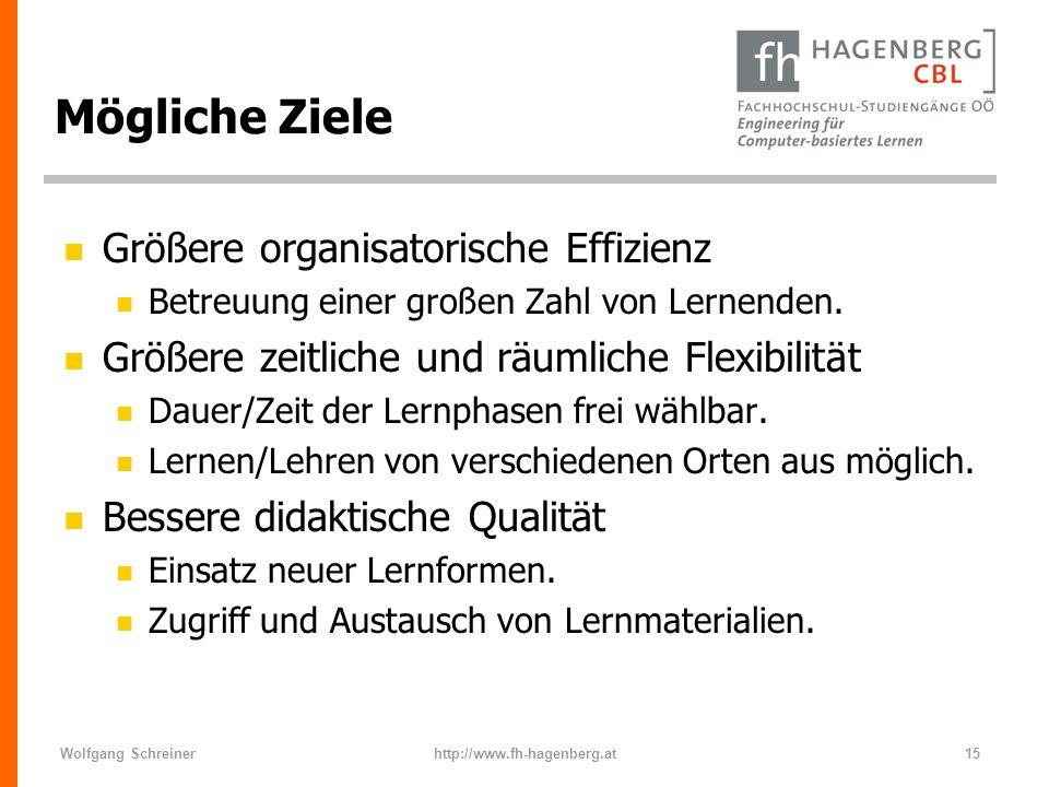 Mögliche Ziele Größere organisatorische Effizienz