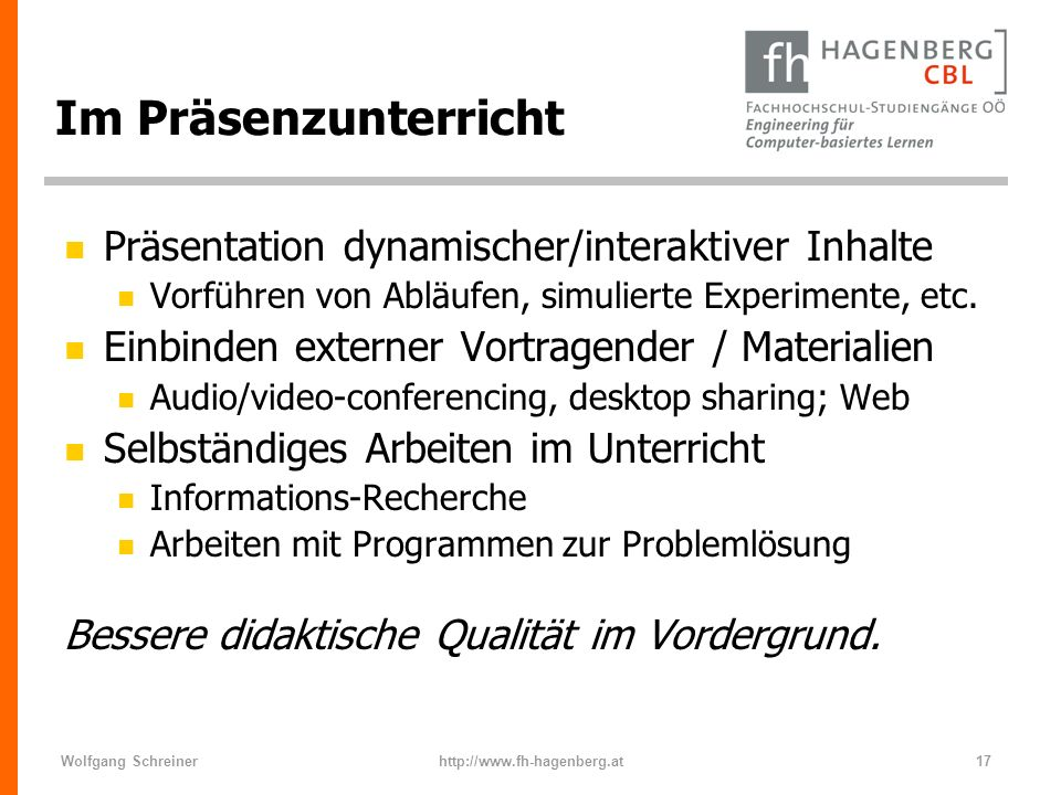Im Präsenzunterricht Präsentation dynamischer/interaktiver Inhalte