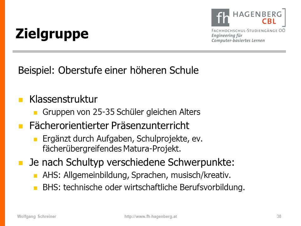 Zielgruppe Beispiel: Oberstufe einer höheren Schule Klassenstruktur