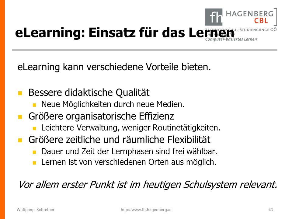 eLearning: Einsatz für das Lernen