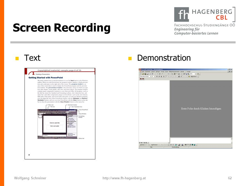 Screen Recording Text Demonstration Wolfgang Schreiner