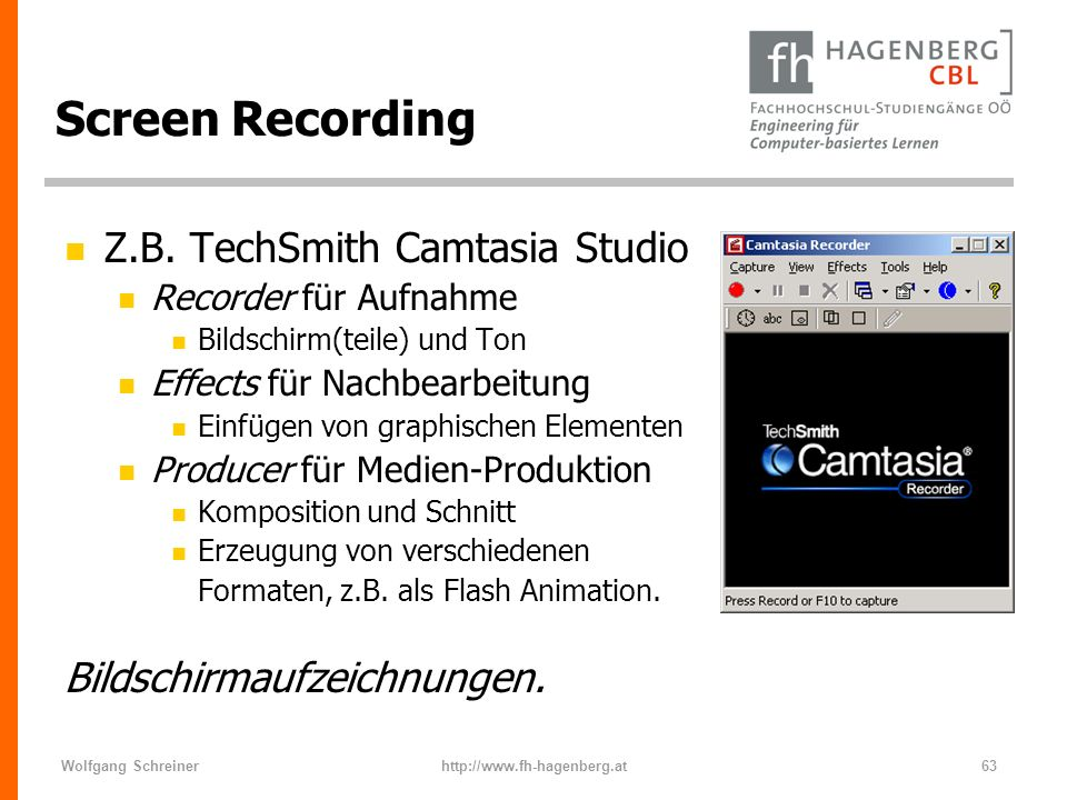 Screen Recording Z.B. TechSmith Camtasia Studio