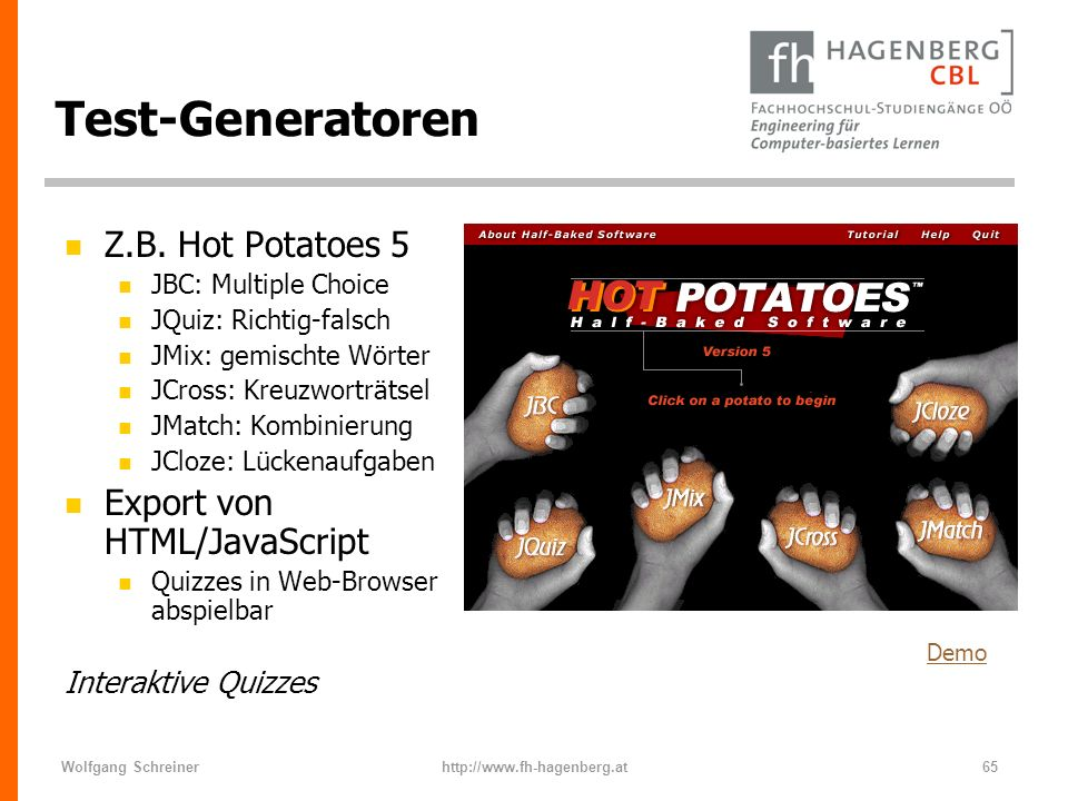 Test-Generatoren Z.B. Hot Potatoes 5 Export von HTML/JavaScript