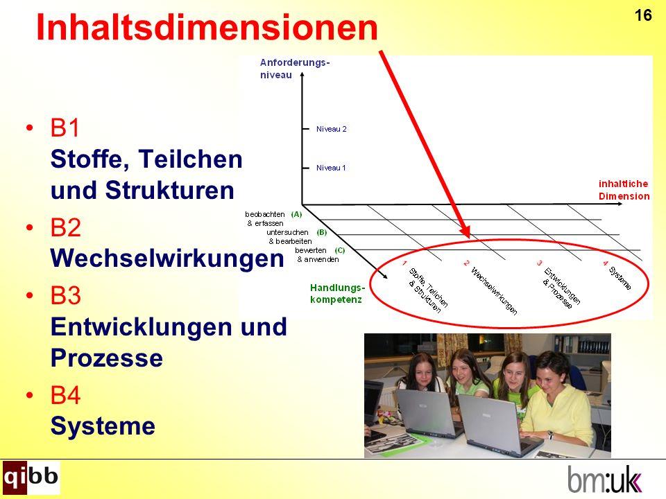 Inhaltsdimensionen B1 Stoffe, Teilchen und Strukturen