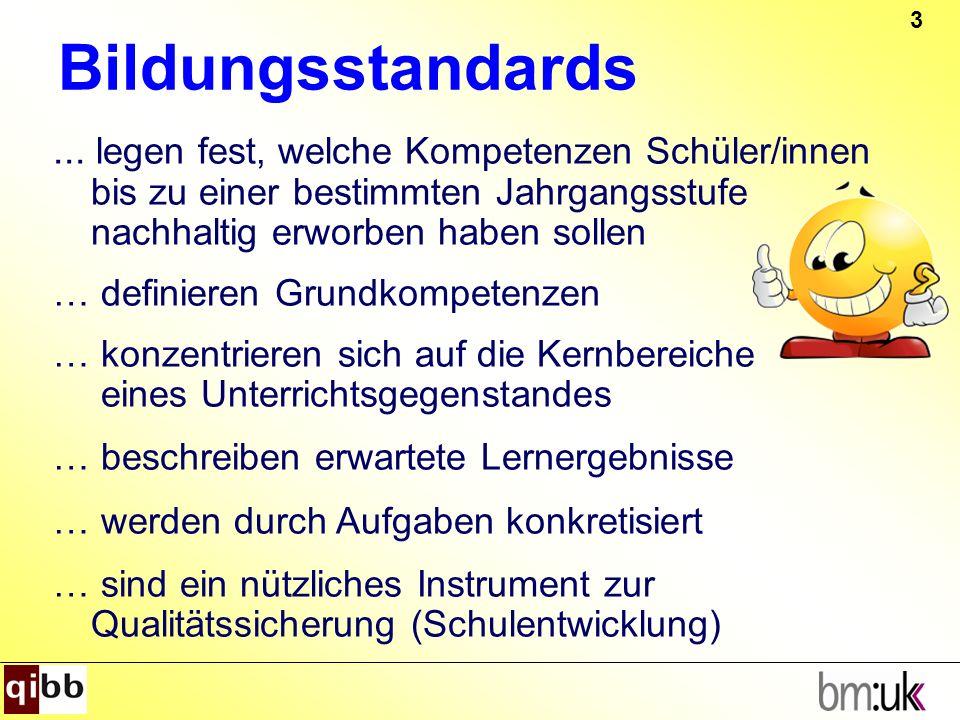 Bildungsstandards ... legen fest, welche Kompetenzen Schüler/innen bis zu einer bestimmten Jahrgangsstufe nachhaltig erworben haben sollen.