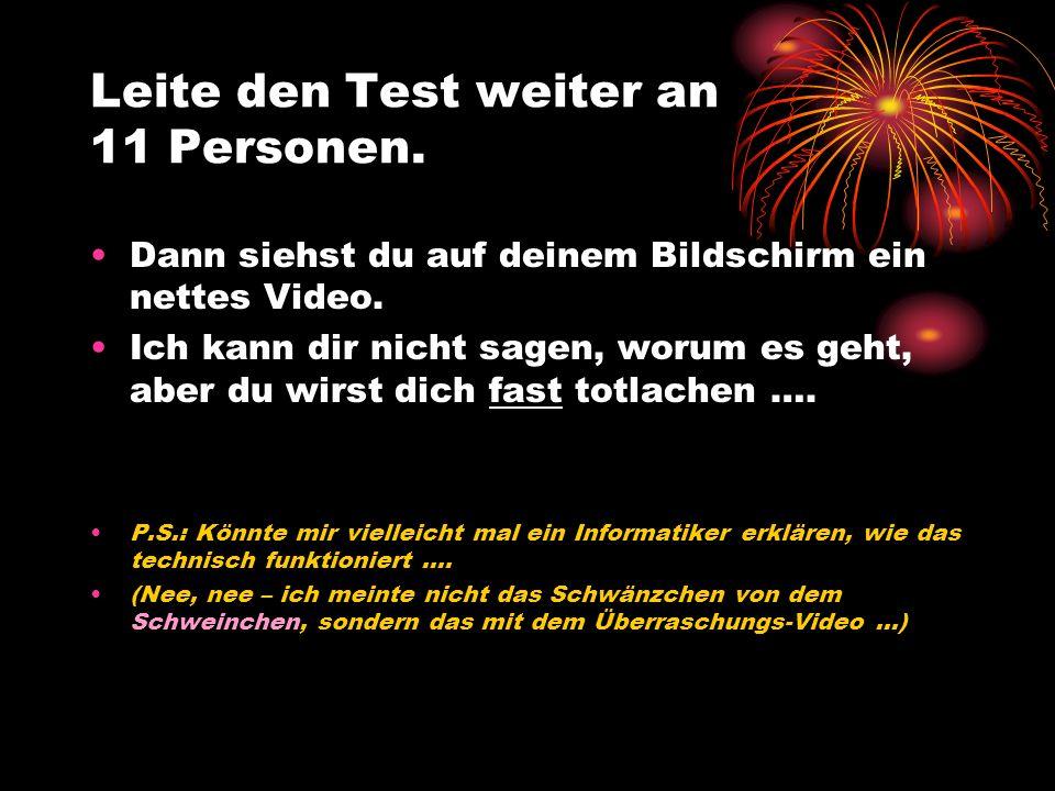 Leite den Test weiter an 11 Personen.