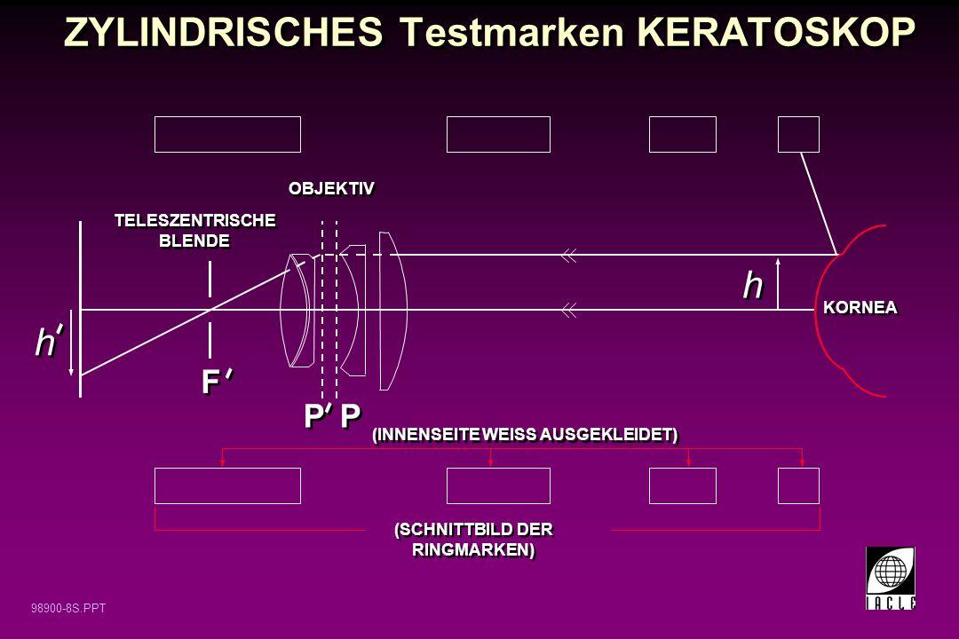 ZYLINDRISCHES Testmarken KERATOSKOP