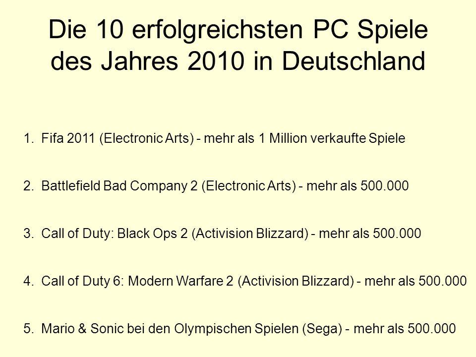 Die 10 erfolgreichsten PC Spiele des Jahres 2010 in Deutschland