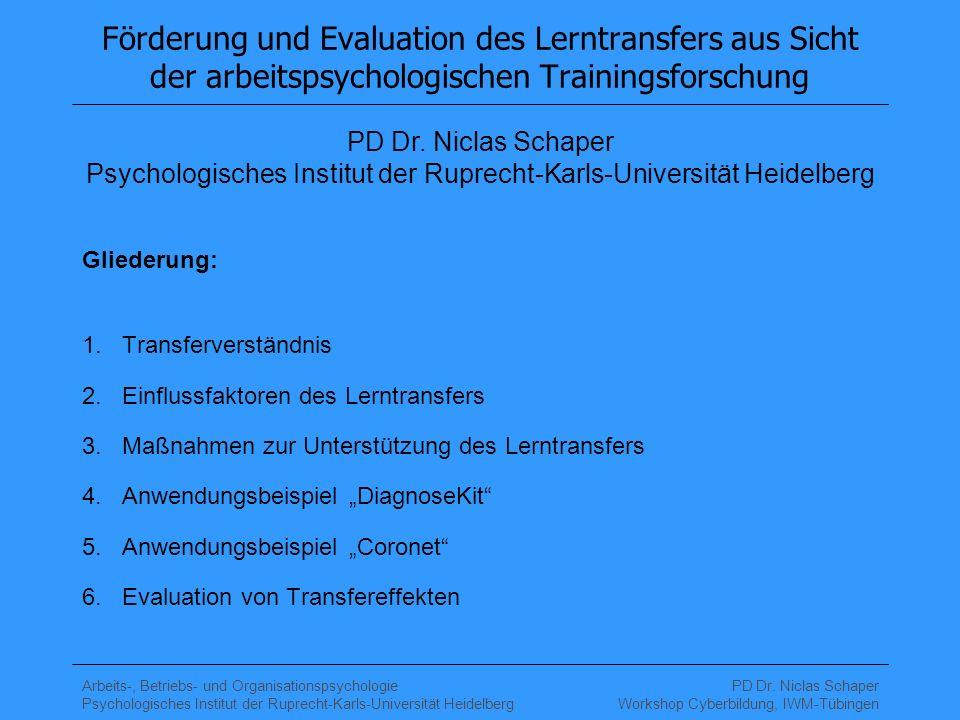 Förderung und Evaluation des Lerntransfers aus Sicht der arbeitspsychologischen Trainingsforschung