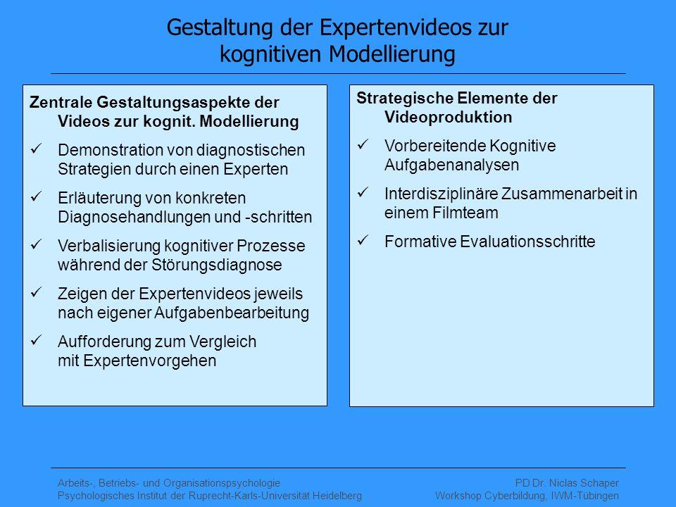 Gestaltung der Expertenvideos zur kognitiven Modellierung