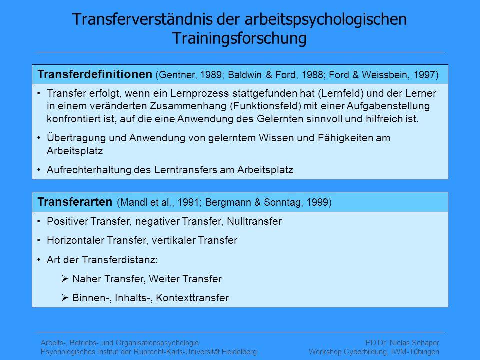 Transferverständnis der arbeitspsychologischen Trainingsforschung
