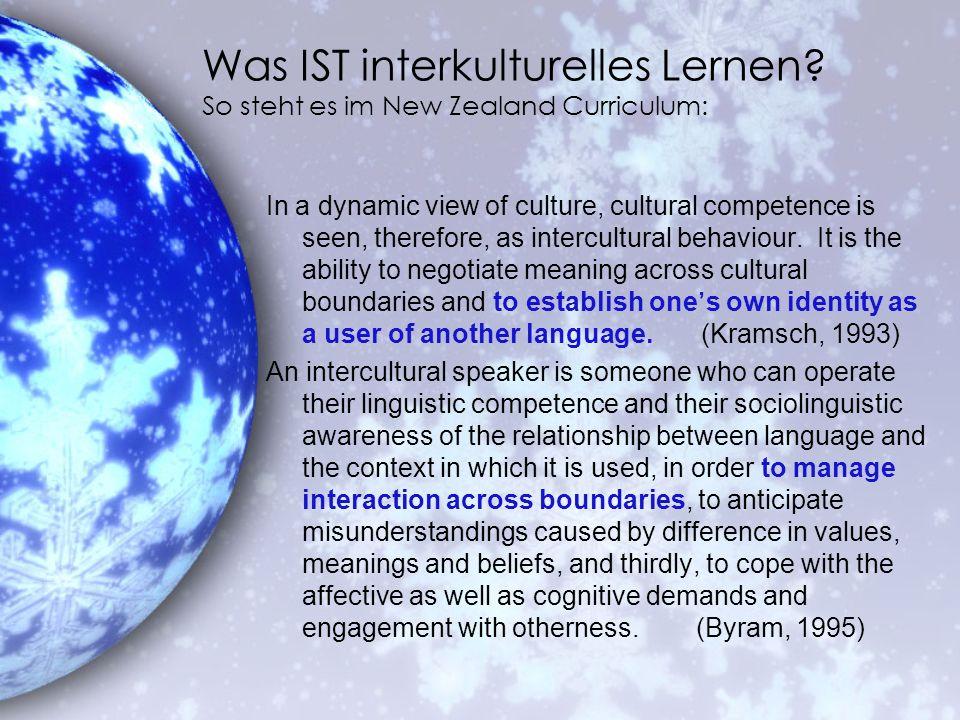 Was IST interkulturelles Lernen So steht es im New Zealand Curriculum: