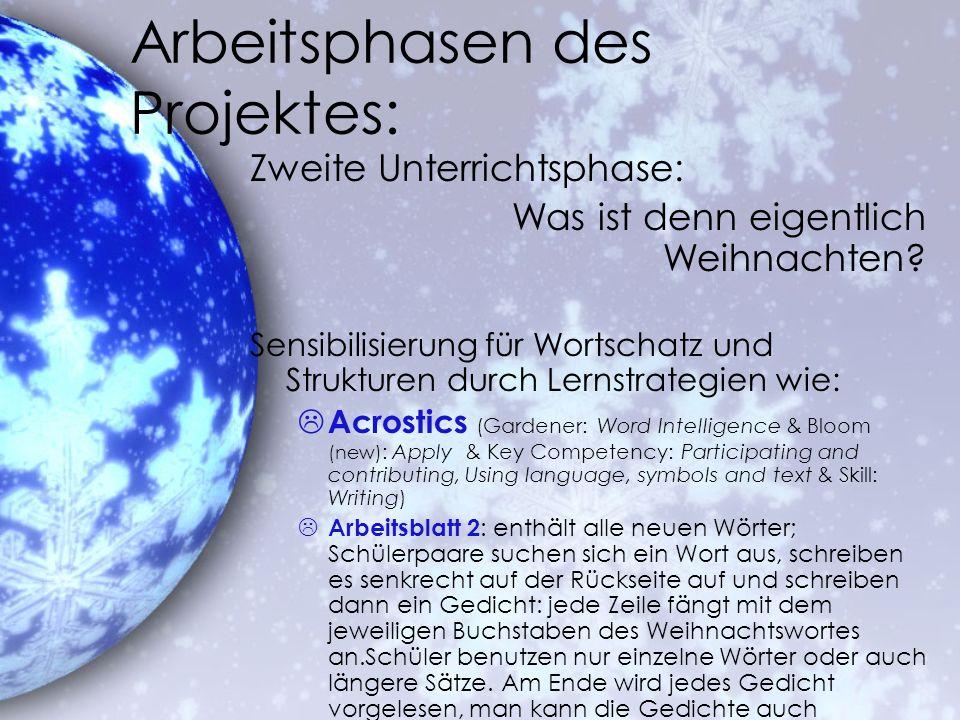 Arbeitsphasen des Projektes:
