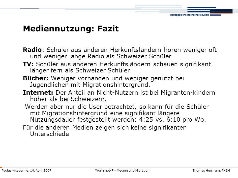 Mediennutzung: Fazit Radio: Schüler aus anderen Herkunftsländern hören weniger oft und weniger lange Radio als Schweizer Schüler.