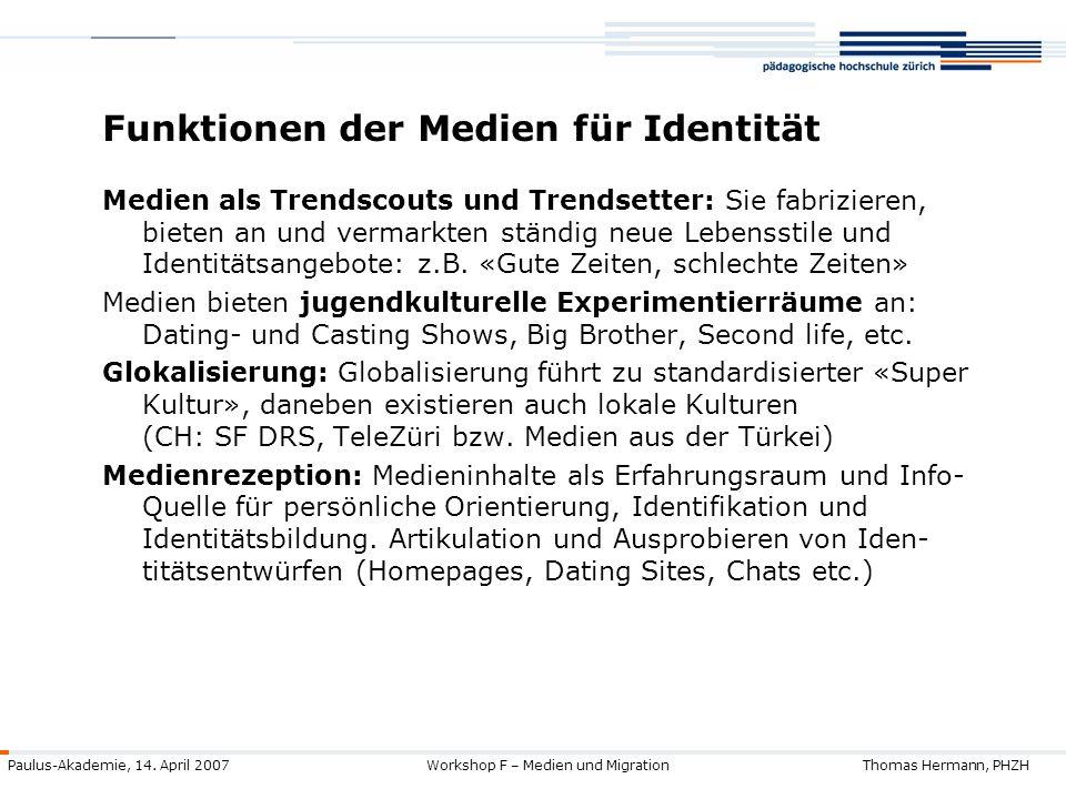 Funktionen der Medien für Identität