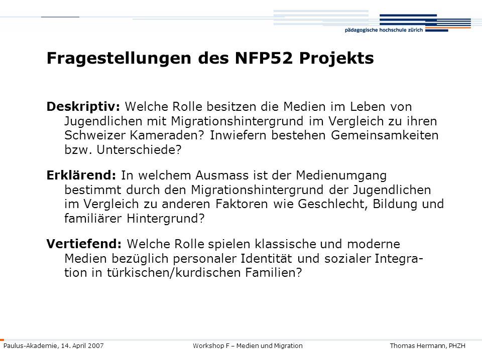 Fragestellungen des NFP52 Projekts