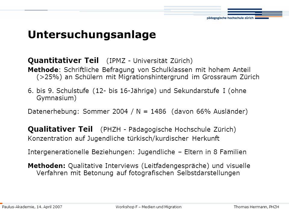 Untersuchungsanlage Quantitativer Teil (IPMZ - Universität Zürich)