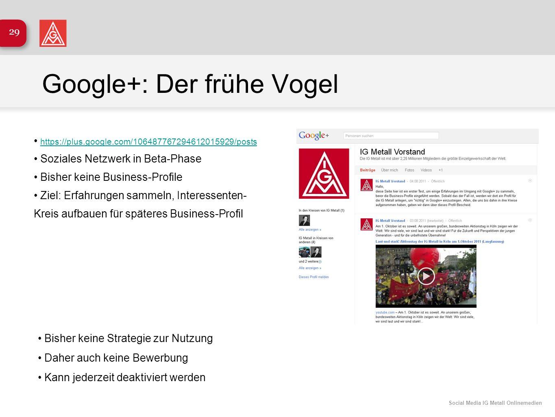 Google+: Der frühe Vogel