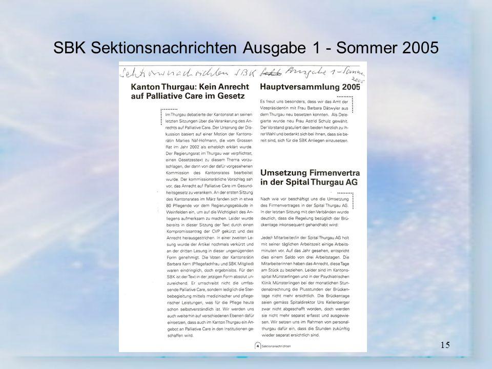SBK Sektionsnachrichten Ausgabe 1 - Sommer 2005