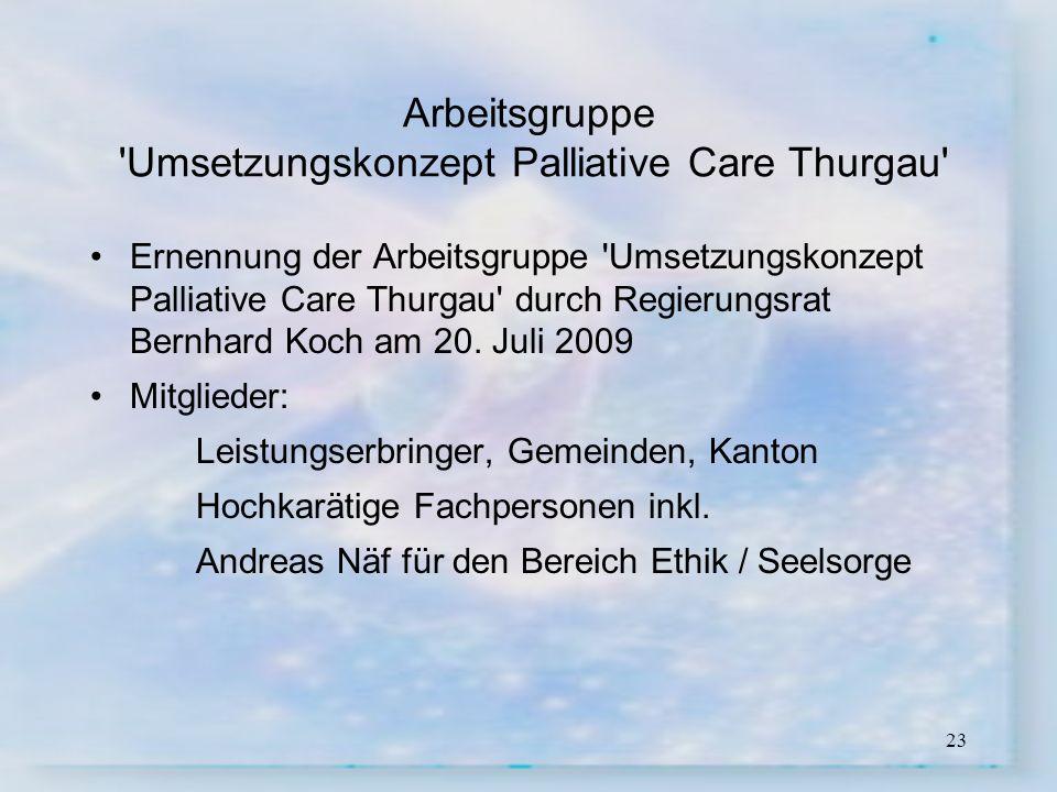 Arbeitsgruppe Umsetzungskonzept Palliative Care Thurgau