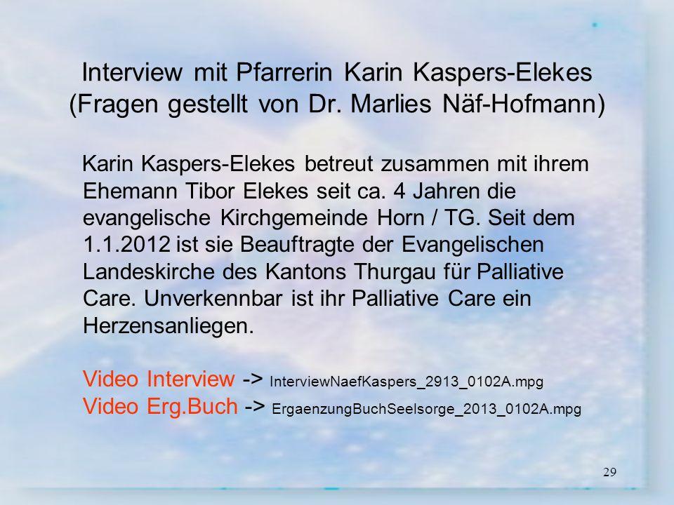 Interview mit Pfarrerin Karin Kaspers-Elekes (Fragen gestellt von Dr