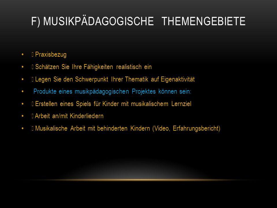 F) Musikpädagogische Themengebiete