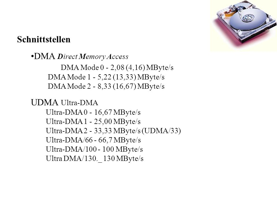 DMA Direct Memory Access DMA Mode 0 - 2,08 (4,16) MByte/s