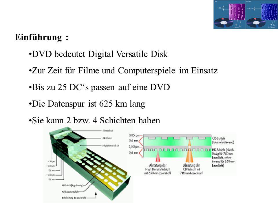 Einführung : DVD bedeutet Digital Versatile Disk. Zur Zeit für Filme und Computerspiele im Einsatz.