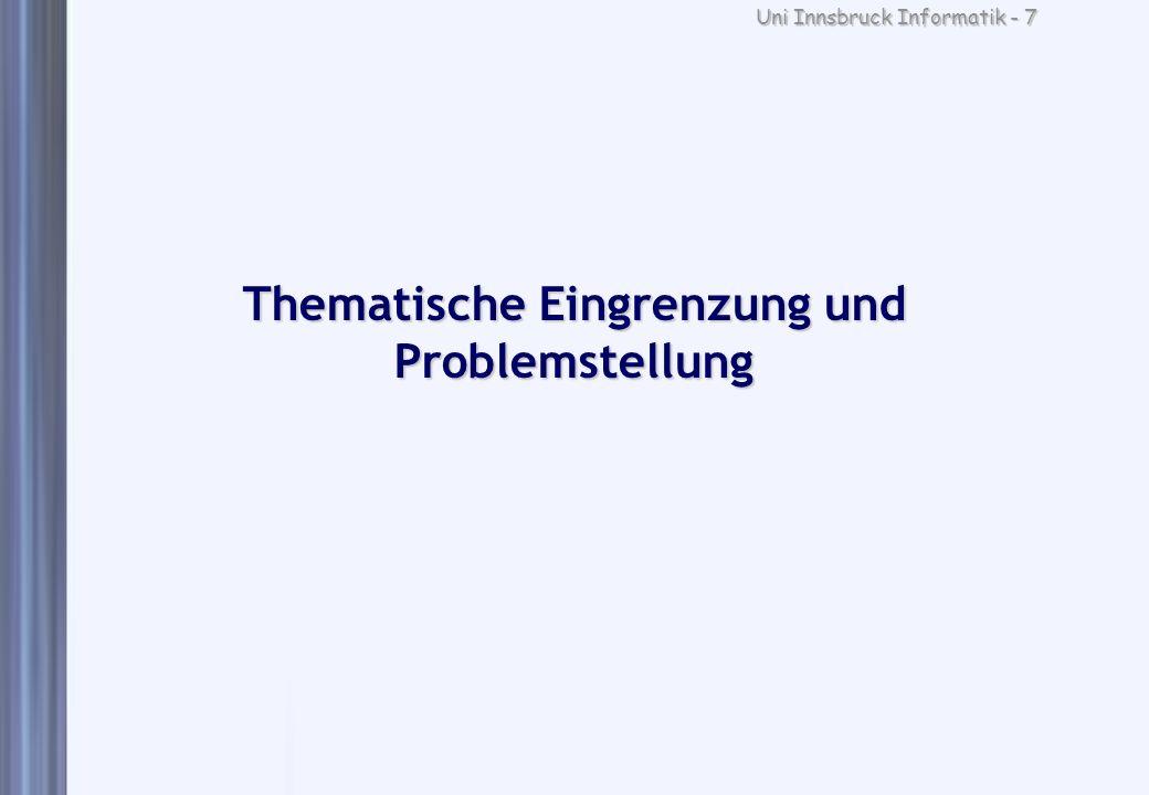 Thematische Eingrenzung und Problemstellung